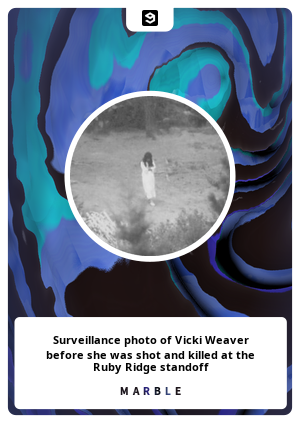 Surveillance photo of Vicki Weaver before she was shot and killed at the Ruby Ridge standoff